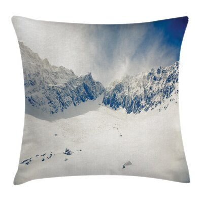Winter Nature Mountain Snowy Square Pillow Cover Size: 16 x 16