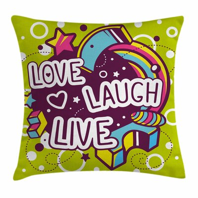 Live Laugh Love Cartoon Figures Square Pillow Cover Size: 16 x 16