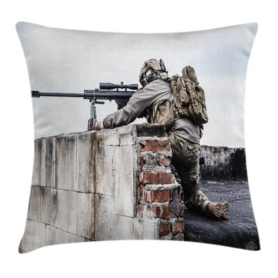 Camo Warrior Sniper Commando Square Pillow Cover Size: 20 x 20