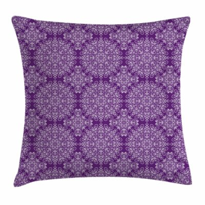 Purple Mandala Victorian Swirls Square Pillow Cover Size: 18 x 18