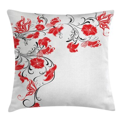 Japanese Flowers Swirls Square Pillow Cover Size: 18 x 18