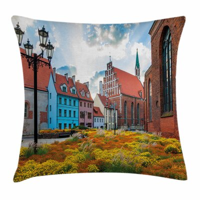 Victorian Decor Old City Latvia Square Pillow Cover Size: 18 x 18