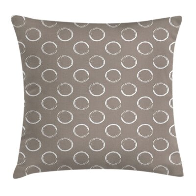 Ring Shapes Grungy Art Square Pillow Cover Size: 18 x 18
