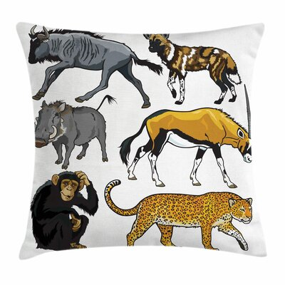 Zoo Cartoon Wild Animals Africa Square Pillow Cover Size: 20 x 20