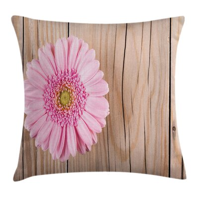 Floral Gerber on Wooden Square Pillow Cover Size: 20 x 20