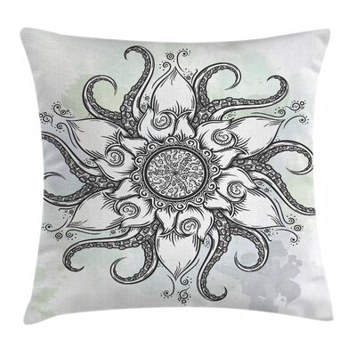 Octopus Drawn Mandala Flower Square Pillow Cover Size: 18 x 18