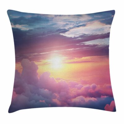 Sun Surreal Sky Fluffy Clouds Square Pillow Cover Size: 16 x 16