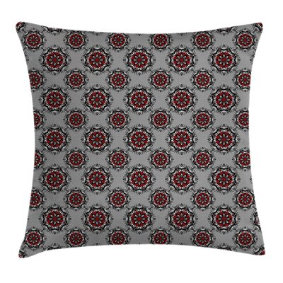 Burgundy Moroccan Flower Rose Square Pillow Cover Size: 16 x 16