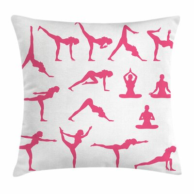 Yoga Silhouettes Flexing Square Pillow Cover Size: 24 x 24