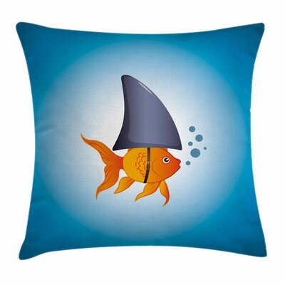 Shark Little Fish Wearing Fin Square Pillow Cover Size: 18 x 18
