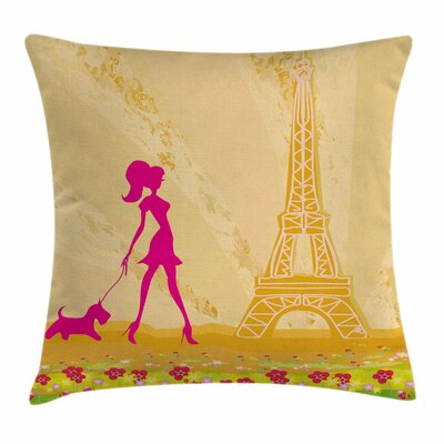 Teen Room Decor Girl Dog Square Pillow Cover Size: 16 x 16