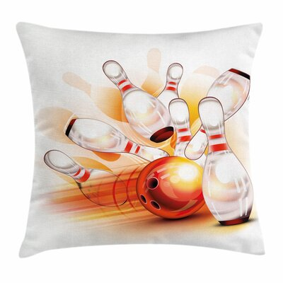 Bowling Artsy Ball Crashing Square Pillow Cover Size: 16 x 16