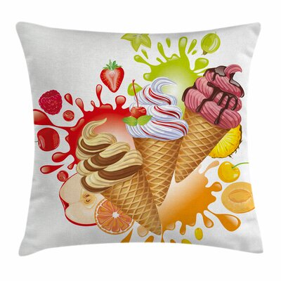 Ice Cream Fruity Sorbet Square Pillow Cover Size: 18 x 18