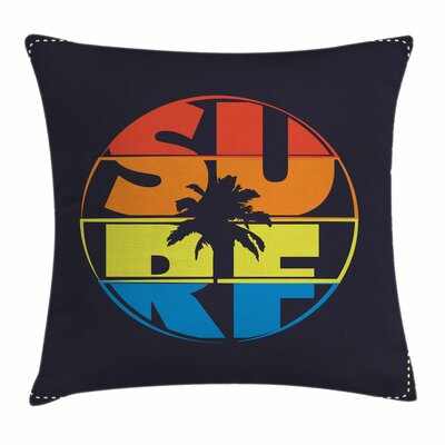 Modern Surf Rainbow Colors Palm Square Pillow Cover Size: 18 x 18