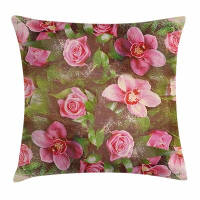 Retro Corsage Square Pillow Cover Size: 24 x 24