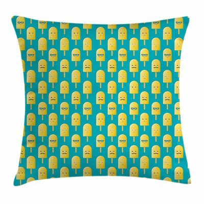 Ice Cream Lemon Flavor Face Fun Square Pillow Cover Size: 18 x 18