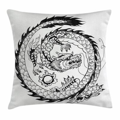 Dragon Ethnic Asian Japanese Square Pillow Cover Size: 16 x 16