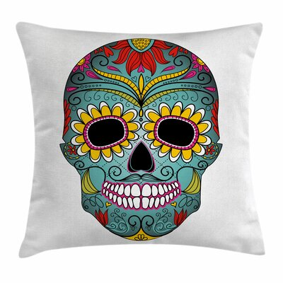 Sugar Skull Mexican Ornaments Square Pillow Cover Size: 18 x 18, Color: Blue