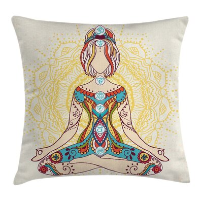 Yoga Lotus Pose Inner Peace Square Pillow Cover Size: 16 x 16