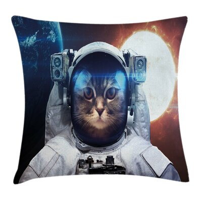 Space Kitty Square Pillow Cover Size: 16 x 16