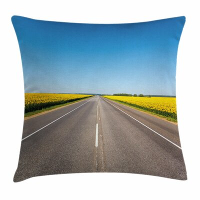 Sunflowers Road Square Pillow Cover Size: 20 x 20