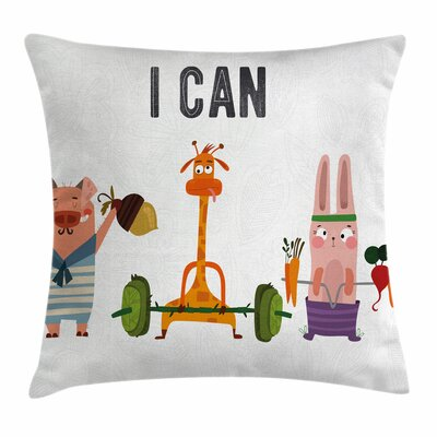 Fitness Cute Animals Exercise Square Pillow Cover Size: 18 x 18