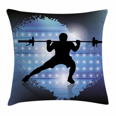 Fitness Wightlifter Silhouette Square Pillow Cover Size: 18 x 18