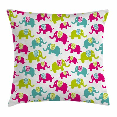 Elephant Joyous Cartoon Square Pillow Cover Size: 24