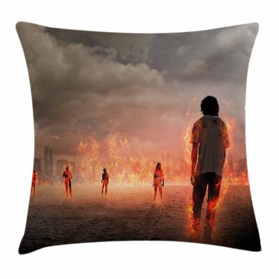 Zombie Decor People in Flame Square Pillow Cover Size: 16 x 16