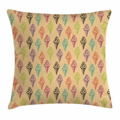 Ice Cream Grunge Icons Square Pillow Cover Size: 16