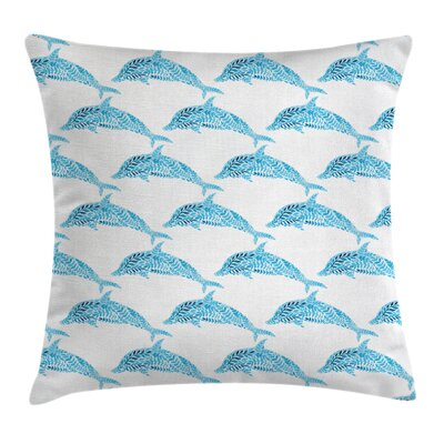 Sea Dolphins with Leaves Square Pillow Cover Size: 24 x 24
