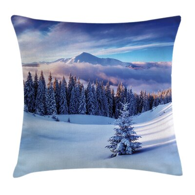 Winter Mountain Peaks Snowy Square Pillow Cover Size: 20 x 20