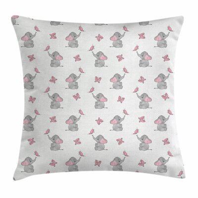 Elephant Baby Butterfly Square Pillow Cover Size: 18 x 18