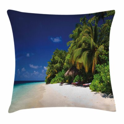 Sandy Coastline Surreal Square Pillow Cover Size: 16 x 16