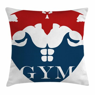 Fitness Strong Man with Biceps Square Pillow Cover Size: 24 x 24