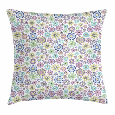 Pastel Ornate Flourish Vintage Square Pillow Cover Size: 24 x 24