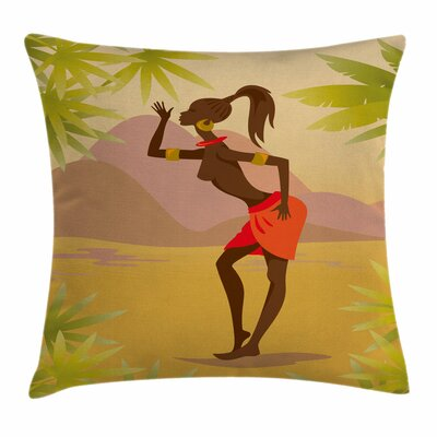 African Woman Young Girl Exotic Square Pillow Cover Size: 18 x 18