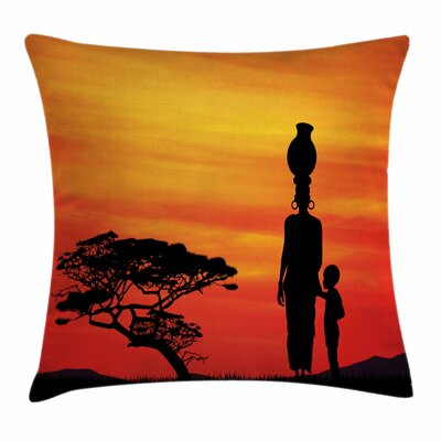 African Woman Mother and Child Square Pillow Cover Size: 16 x 16