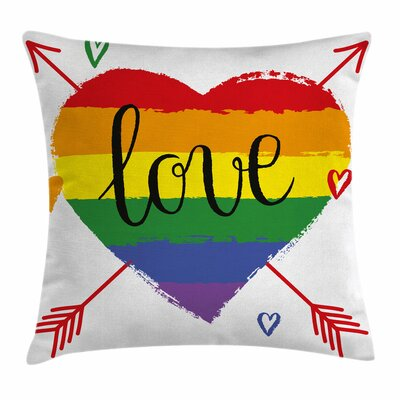 Heart Arrows Love Square Pillow Cover Size: 16