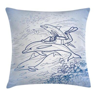 Ocean Life Sketch Scuba Diver Square Pillow Cover Size: 24 x 24