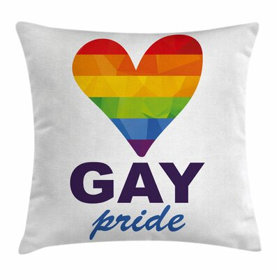 Rainbow Gay Culture Heart Icon Square Pillow Cover Size: 18 x 18