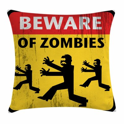 Zombie Decor Fiction Humor Art Square Pillow Cover Size: 18 x 18