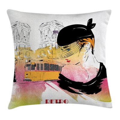 Girls Room Decor Elegant Retro Square Pillow Cover Size: 24 x 24