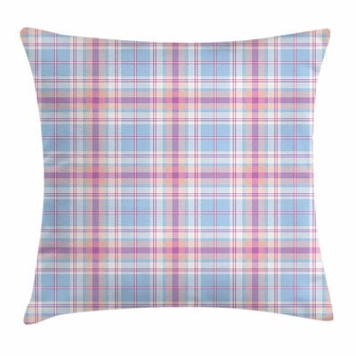 Pastel Vintage Plaid Pattern Square Pillow Cover Size: 24 x 24