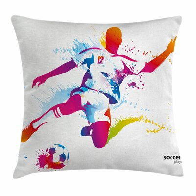 Teen Room Decor Soccer Ball Square Pillow Cover Size: 18 x 18