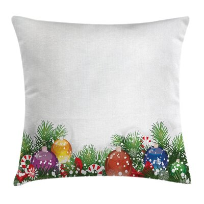 Christmas Xmas Tree Ornaments Square Pillow Cover Size: 18 x 18