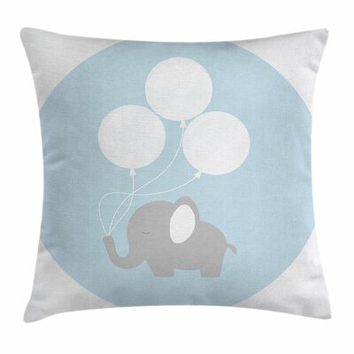 Elephant Balloons Baby Square Pillow Cover Size: 18 x 18