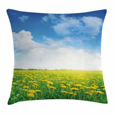 Daisy Field Grassland Square Pillow Cover Size: 16 x 16