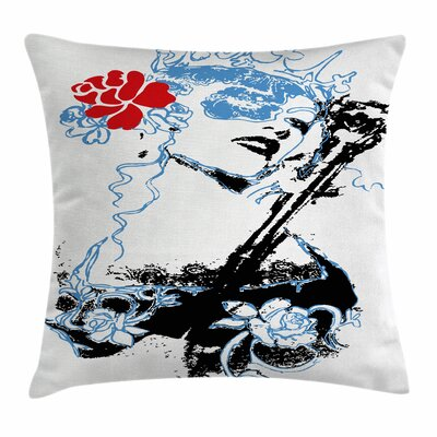 Grunge Vintage Woman Art Square Pillow Cover Size: 18 x 18