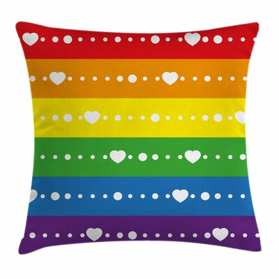 Rainbow Gay Pride Flag Dots Square Pillow Cover Size: 16 x 16